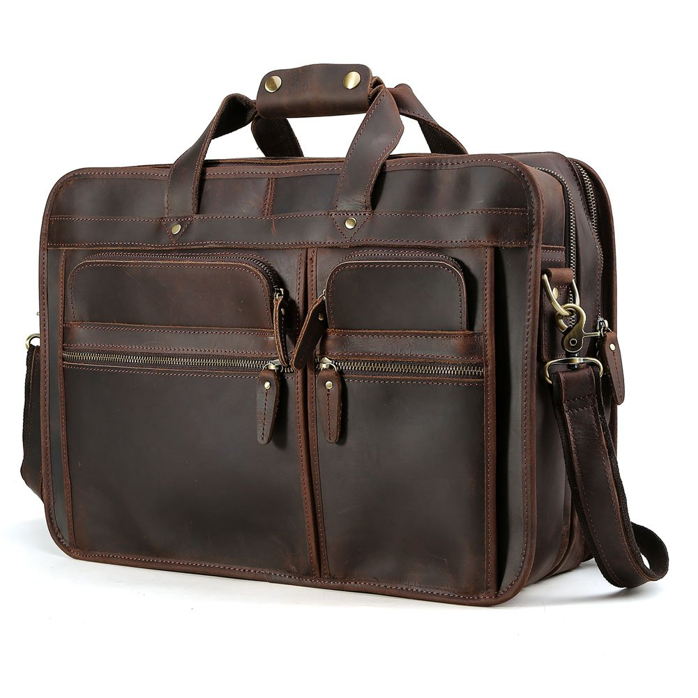 "Tiding Cowhide Leather Vintage Laptop Bag – Durable, Spacious, Stylish Carry On Business Bag – Fits 17.3"" Laptop – Perfect for The Busy Businessman"