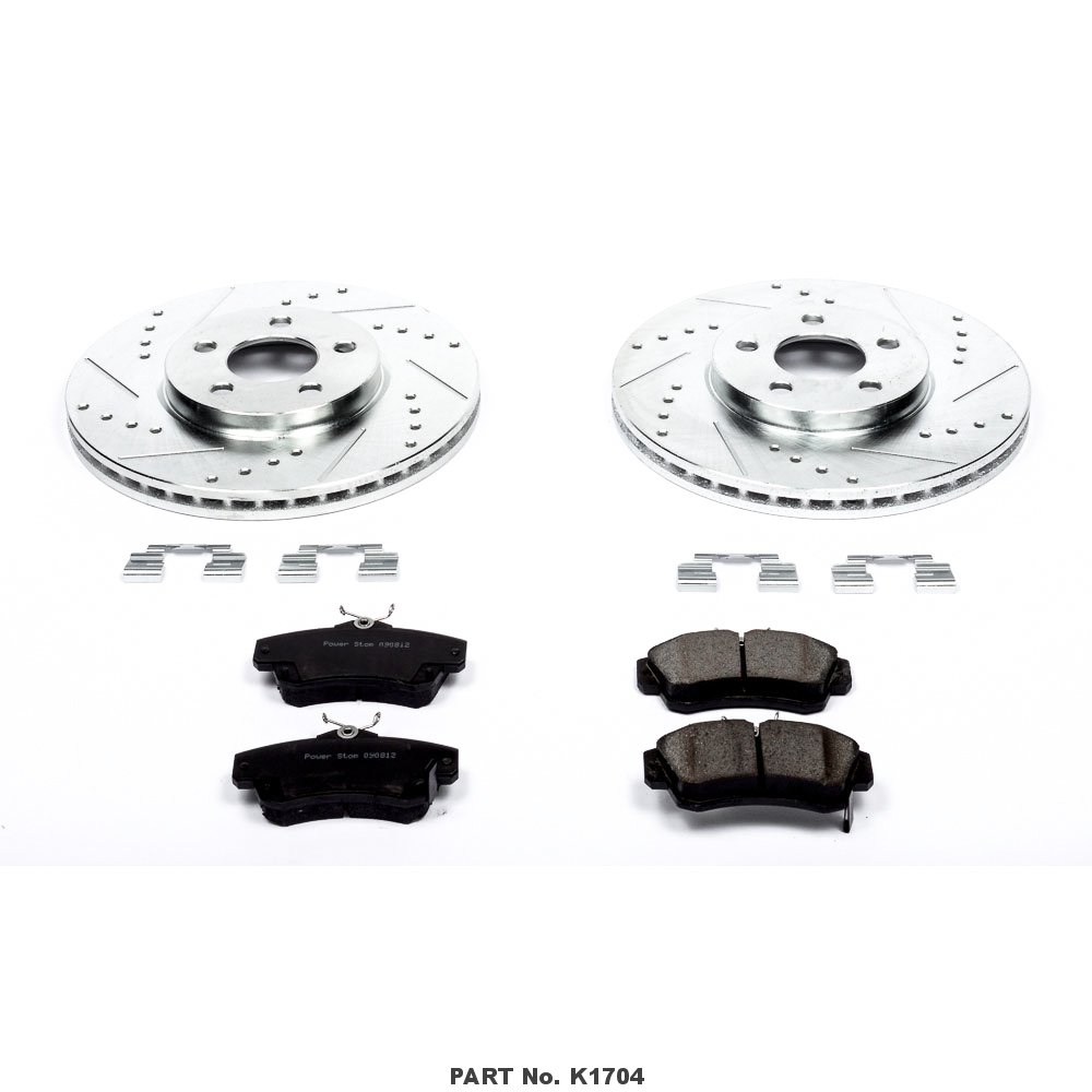 Power Stop K1704 Front Z23 Evolution Brake Kit with Drilled//Slotted Rotors and Ceramic Brake Pads
