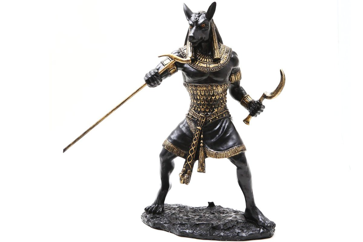 PTC 10 Inch Seth Fighting Warrior Egyptian Mythological Statue Figurine,Black and Gold