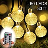 ZOUTOG 33ft 60 Crystal Balls Battery Operated String Lights, Outdoor String Lights with Remote Controller + 8 Pcs Lighting Hooks, LED String Lights for Patio/Garden / Lawn/Home - Warm White