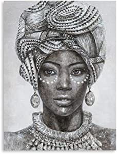 "B BLINGBLING Black Girl Wall Decor: African American Wall Art Women with Traditional Headband and Earrings Diamond Paintings Black Women for Wall African Wall Decor for Bedroom (12""x16""x1 Panel)"