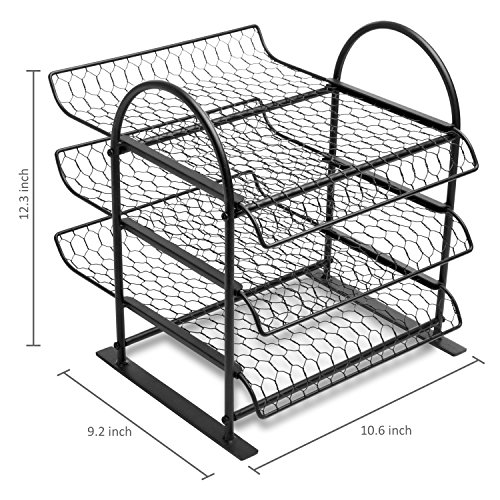 My T Metal Chicken Wire Office Document File Organizer With 3 Tier