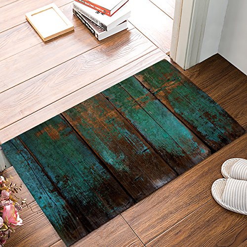 Rustic Old Barn Wood Blue Green Vintage Door Mats Kitchen Floor Absorbent Bath Mat Entrance Rugs Indoor Bathroom Decor Doormats Rubber Non Slip