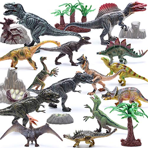 Hely Cancy 20 Pcs Realistic Dinosaur Action Figures with Movable Jaws, Educational Dinosaur Toys Playset for Kids
