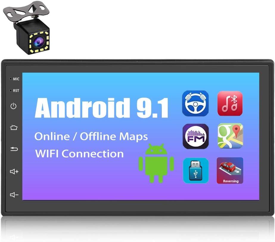 Radio Coche 2 DIN Android, YYKJ Radio Coche Bluetooth Pantalla Táctil de 7 Pulgadas Autoradio Coche con FM WiFi Mirror Link Cámara de Visión Trasera USB Control del Volante