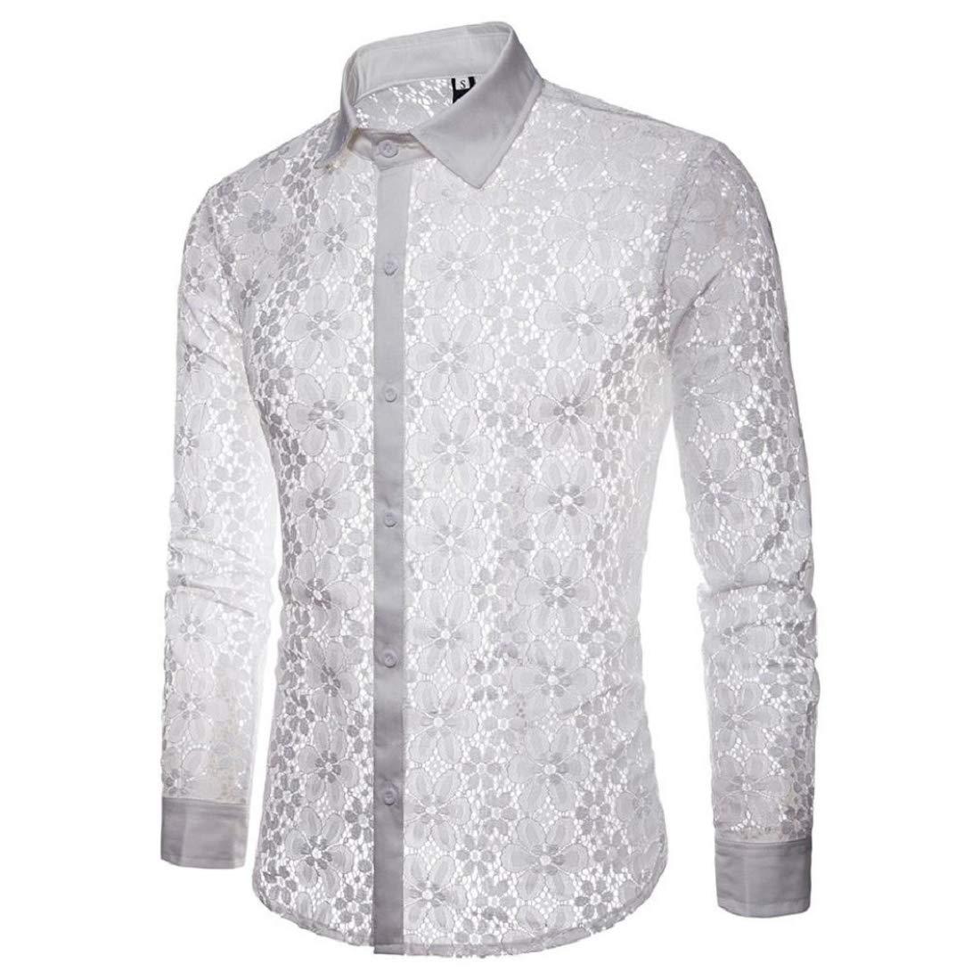 dd07ed6c1252 Amazon.com: GONKOMA Men's Lace Shirts Stylish Long Sleeve Lace Shirt Tops  Blouse Basic Slim Fit Shirts Top: Clothing