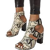 Padaleks Women's Peep Toe Chunky Block High Heels Sandals Slingback Buckle Ankle Strap Dress Party Pump Shoes