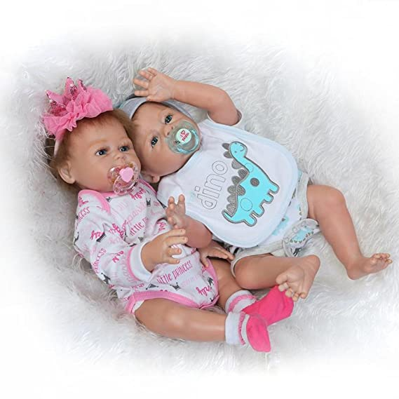 Evursua Anatomically Correct Reborn Twins Dolls Real Lifelike Babies Boy and Girl Full Body Silicone,20-Inch (Pink and Blue-2 Dolls)