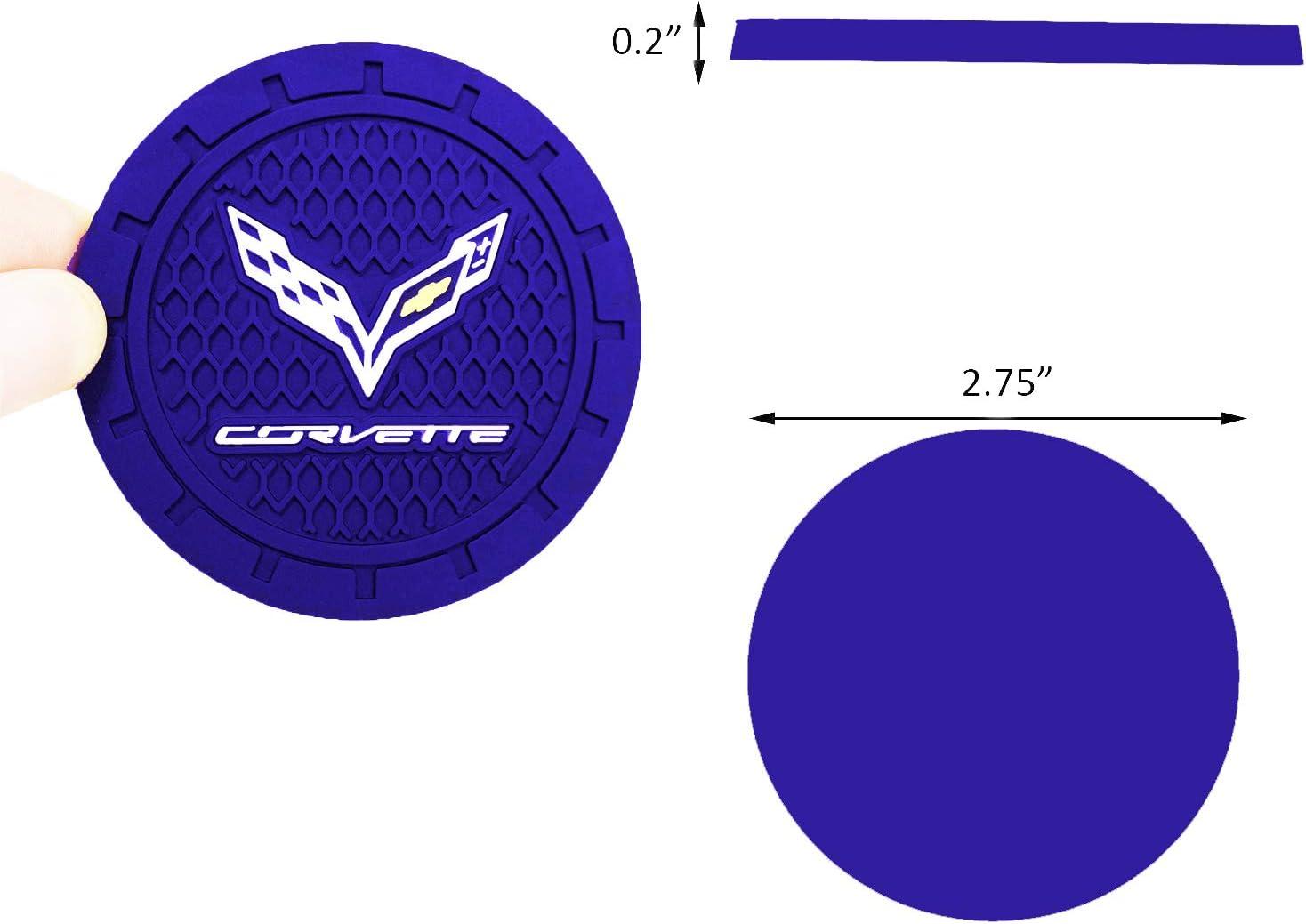 Blue, 2 PCS Cup Holder Coaster Auto Interior Decoration Pad Shenwinfy 2.75 Inch Car Interior Accessories Anti Slip Mat for Cadillac