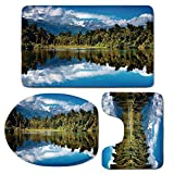 3 Piece Bath Mat Rug Set,Lake-House-Decor,Bathroom Non-Slip Floor Mat,Mirror-Reflection-on-Lake-by-the-Forest-with-Cloudy-Sky-in-Southern-Alps,Pedestal Rug + Lid Toilet Cover + Bath Mat,Green-Blue-Whi