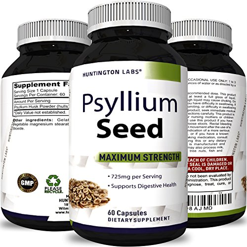 Premium Psyllium Husk Powder Pills Soluble Fiber Pure Natural Supplement Pills Weight Loss Digestive Aid Constipation Relief Appetite Suppressant Cleanse Detox for Men and Women by Huntington Labs