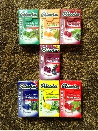 Ricola Swiss Herbal Sugar Free Seven Mix Flavor Mint Fresh Pearls X 7 Packs
