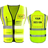 High Visibility Safety Vest Custom Your Logo Protective Workwear 5 Pockets With Reflective Strips Outdoor Work Vest (Neon Yel