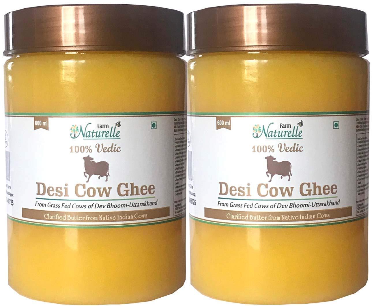 Farm Naturelle Desi Cow Ghee (Pack of 2) - 100% Pure From A2 Milk - 600 ML X 2 (20.28oz)