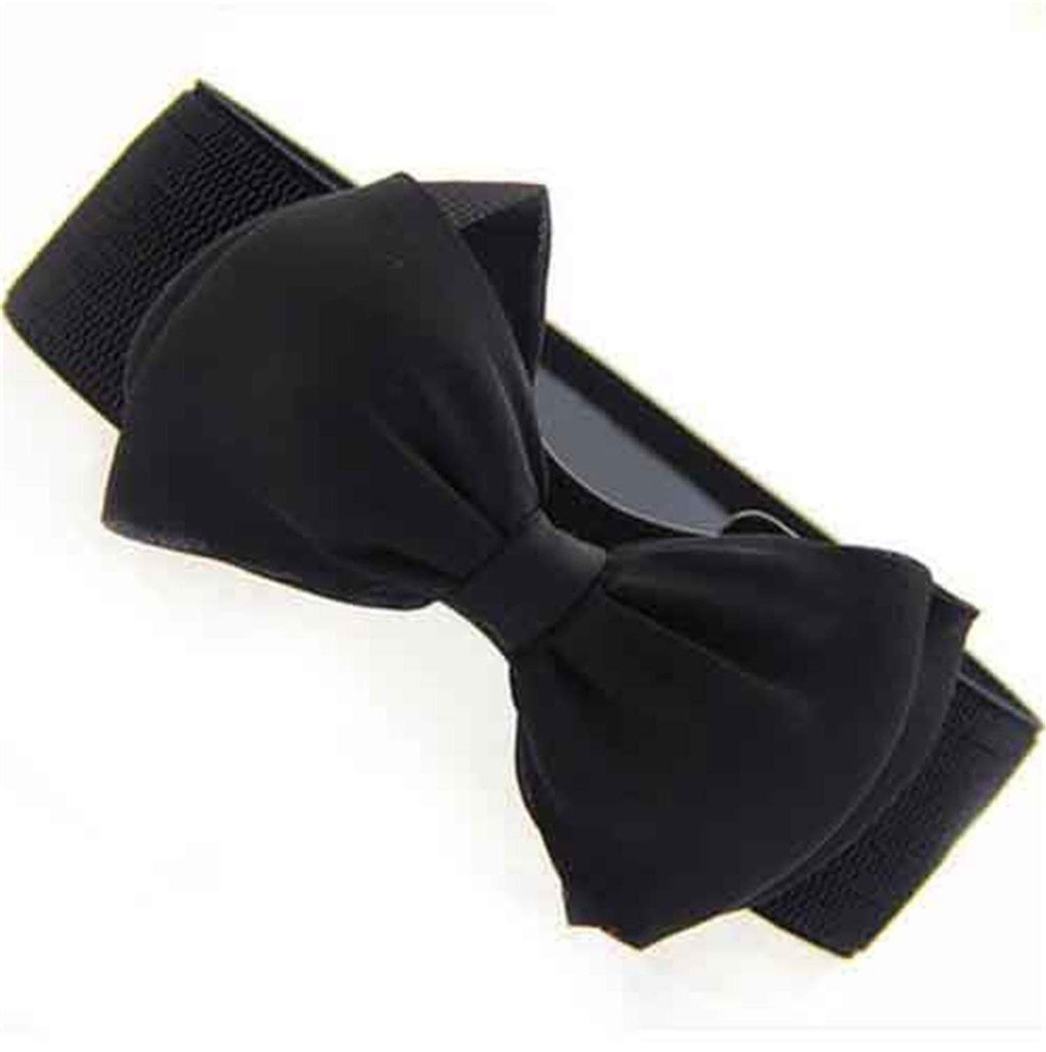 Beautface Makeup Nice Fashion Women Lady Bowknot Stretch Elastic Bow Wide Stretch Buckle Waistband Waist Belt,OneSize,Black