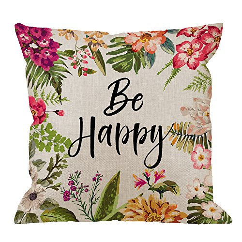 HGOD DESIGNS Be Happy Pillow, Quotes with Colorful Flowers Cotton Linen Cushion Cover Square Standard Home Decorative Throw Pillow for Men/Women/Kids 18x18 inch Muti Color