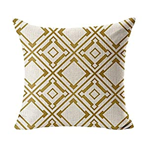 "WOMHOPE 4 Pcs - 17"" Vintage Olive & Gold Geometry Cotton Linen Square Throw Pillow Covers Cushion Cover Pillowcase Decorative Pillows for Couch,Sofa (Gold Set of 4 pcs)"