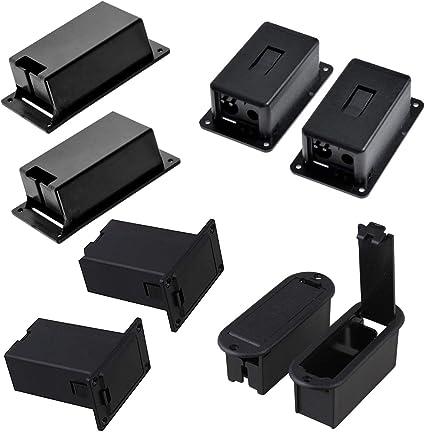Timiy 4 tipos 8 piezas de plástico negro 9 V soporte de batería caja base para Active Guitar Bass sin terminal: Amazon.es: Instrumentos musicales
