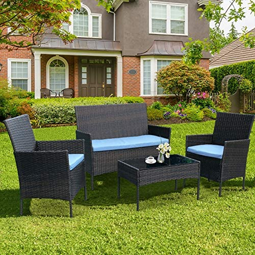CRZDEAL 4 Piece Outdoor Patio Furniture Sets Clearance, Rattan Garden Weaving Wicker Includes 2 Armchairs,1 Double Seat Sofa and 1 Table Indoor Outdoor Conversation Sets