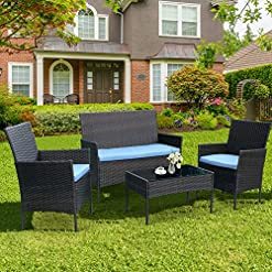Garden and Outdoor CRZDEAL 4 PCS Patio Conversation Set Wicker Outdoor Rattan Chair with Table Set, Patio Furniture Set with Soft Cushions… outdoor lounge furniture