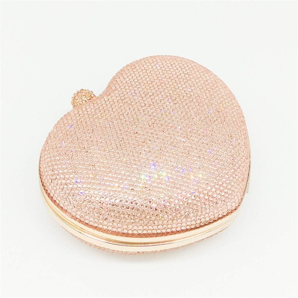 QinWenYan Women Crystal Clutch Bag Women Heart Shape Crystal Evening Hand Bag Chain Shoulder Messenger Bag (Color : Red) Pink
