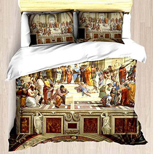 TESCCI The School of Athens, Italian Renaissance, Artist, Raphael Duvet Cover Set Soft Comforter Cover Pillowcase Bed Set Unique Printed Floral Pattern Design Duvet Covers Blanket Cover - King