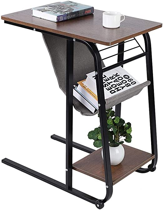 GOTOP - Mesa auxiliar para sofá, mesa de almacenamiento, soporte ...