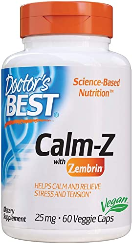 Doctor's Best Calm with Zembrin, Calm, Stress Mood Support, 25mg Veggie Caps, 60Count