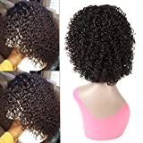 12 inch Short Bob Wigs Brazilian Deep Curly None Lace Frontal Wigs Short Human Hair Wigs for Black Women 150% Full Density Unprocessed Virgin Hair Wigs 100% Human Hair Wigs for Women Natural Color