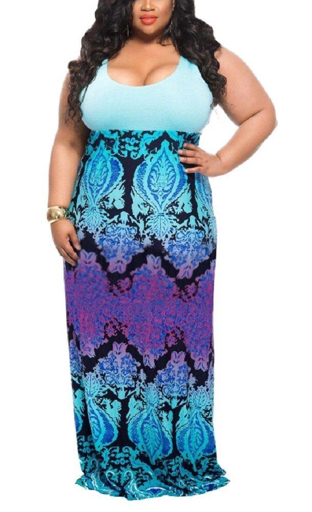 Wearlove Women's Plus Size Scoop Neck Sleeveless Tank Top Chevron Zig Zag Stripe Maxi Dress (XX-Large, blue1)