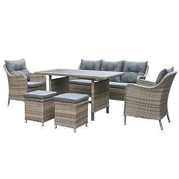 Sandbanks Kingston Rattan 7 Sitzer Sofa Esstisch Lounge Set In Chic