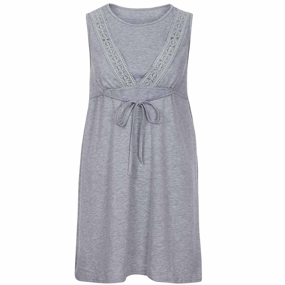 Noeud Papillon Robe de Chambre Siswong Chemise de Nuit Femme Enceinte Pyjama Maternit/é Grossesse sans Manche Soins de maternit/é