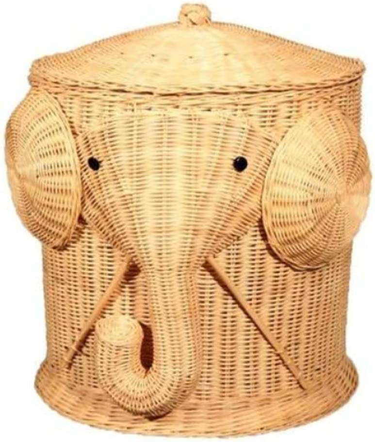 Large Elephant Laundry Basket Wicker Storage Baskets with Lids 18 inch Woven Plant Basket Storage Basket for Blankets Kids Cloth Home Decoration Gift