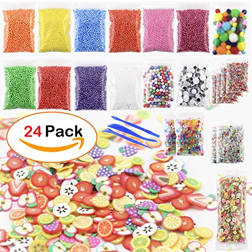 Foam Beads for Slime DIY - 24 pack Colorful Styrofoam Polystyrene Balls, Fishbowl Beads, Googly Eyes, Pom Poms, Fruit Slices, Glitter Sequins, Slime Tools for Homemade Slime Making Craft, Art, Decor (Decor Homemade)