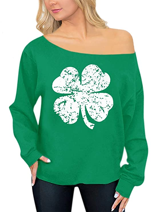 Women Green Clover Graphic Off Shoulder Sweatshirt