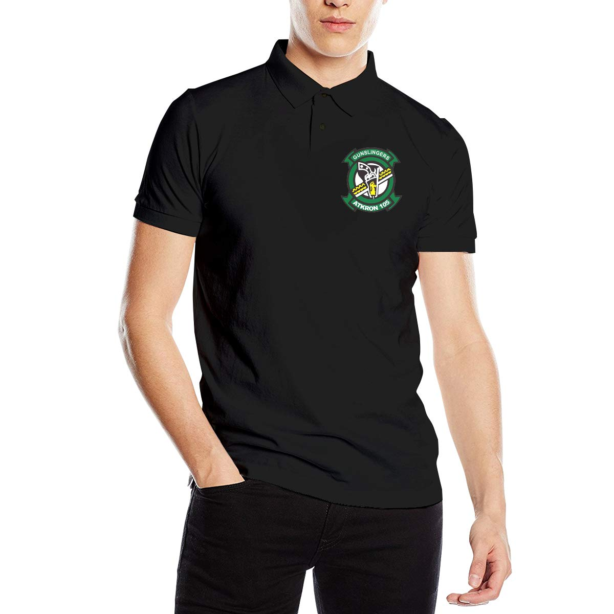 You Know And Good VFA-105 ATKRON-105 Gunslingers Patch Mens Regular-Fit Cotton Polo Shirt Short Sleeve