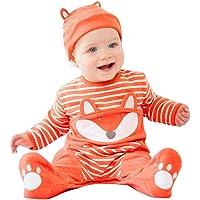 BeautyTop Baby Kinder Fox Drucken Strampler Baby Langarm Overall+Hut 2Pcs Baby Mädchen Jungen Kleidungsset für Winter Cute Tier Kinderkleidung