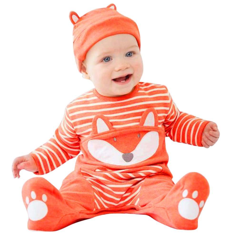 Infant Newborn Baby Boys Girls Cartoon Fox Striped Romper Jumpsuit+Hat Outfits Baby Long Sleeve Bodysuits Climbing Holiday Party Outdoor Clothes For Children Toddler Baby Girl Kid (Orange, 3-6M)