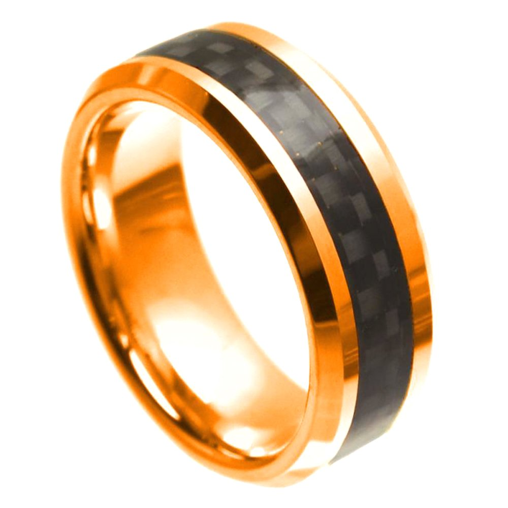 Rose Gold Ion Plated Black Carbon Fiber Inlay Center Finish Comfort Fit Tungsten Carbide Anniversary Ring Mens 8mm Beveled Edge Wedding Band