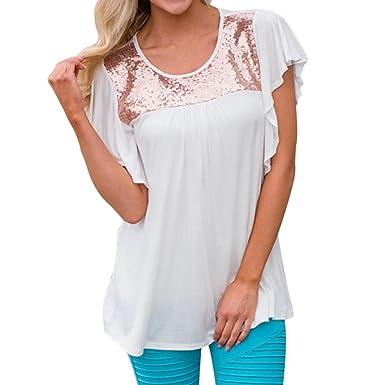 Hffan Damen Oberteile Hemd T-Shirt Tops Bluse Aufflackern-Hülse Costura con  lentejuelas con 23abd5848c