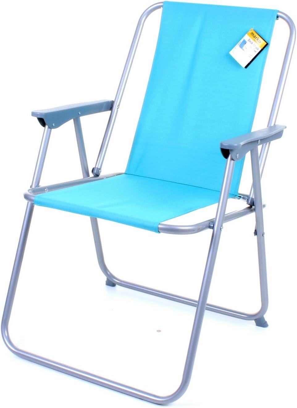 Marko Outdoor Deck Chair Folding Garden Lawn Patio Spring Foldable Seat Camping Outdoor (Sky Blue)