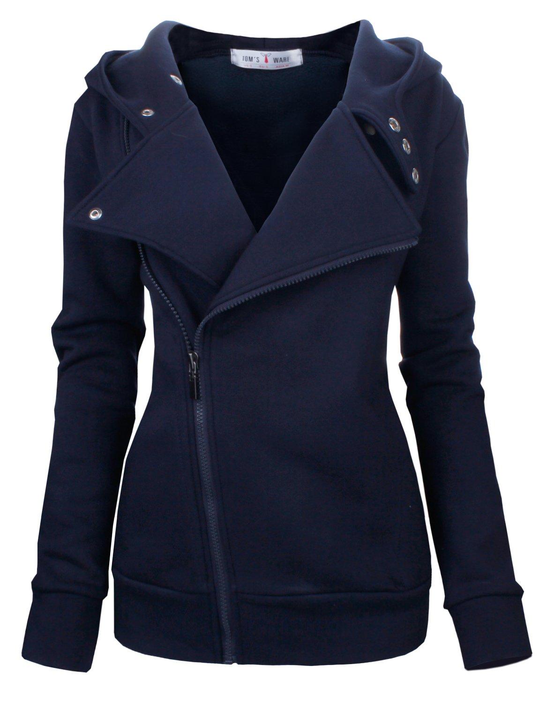Tom's Ware Women Slim fit Zip-up Hoodie Jacket TWHD1003-NAVY-L