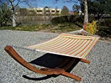 Petra Leisure 14 Ft. Wooden Arc Hammock Stand + Deluxe Quilted Double Padded Hammock Bed w/Pillow. 2 Person Bed. 450 LB Capacity(Teak Stain/Spring Stripe)