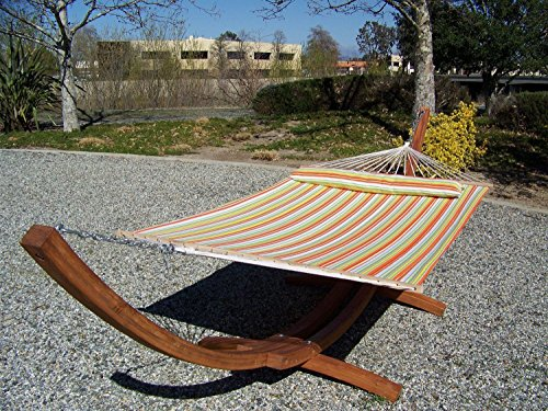 Petra Leisure 14 Ft. Teak Wooden Arc Hammock Stand + Quilted Spring Color, Double Padded Hammock Bed w/Pillow. 2 Person Bed. 450 LB Capacity