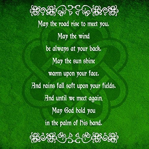 Irish Decal Products (Irish Blessing Prayer May the Road Rise Up Green Celtic Knot - Vinyl Sticker)