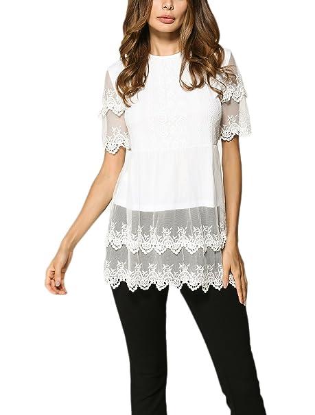 Camisetas Mujer Manga Corta Verano Blancas Basicas Encaje Fiesta Tops Blusa Elegantes Cuello Redondo Splicing Moda Color Sólido Señoras T Shirt Camisas ...