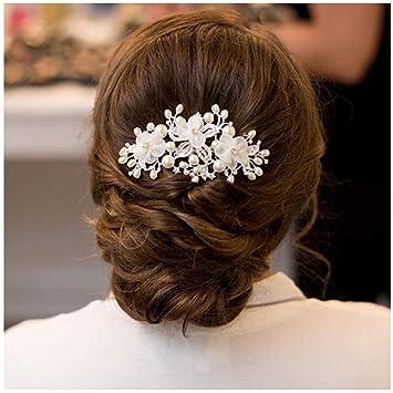SWEETV Flower Wedding Hair Comb Ivory Pearl