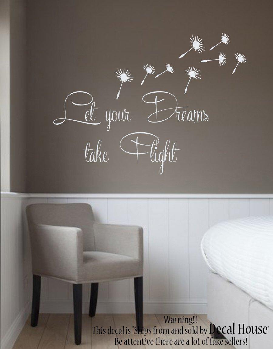 Wall decals vinyl stickers quote let your dreams take flight dandelion decal flower interior design art murals bedroom living room decor kt178 amazon