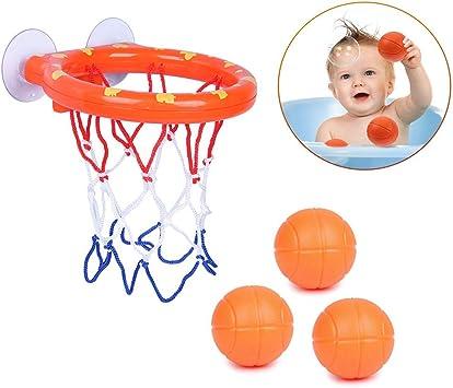SIMUER Canasta Baloncesto Infantil Ba/ñera,Juguetes de Ba/ño,Ganasta de Baloncesto Peque/ña de Pl/ástico,Divertido Juego de Baloncesto para Ni/ños y Ni/ñas Peque/ños con 3 Pelotas