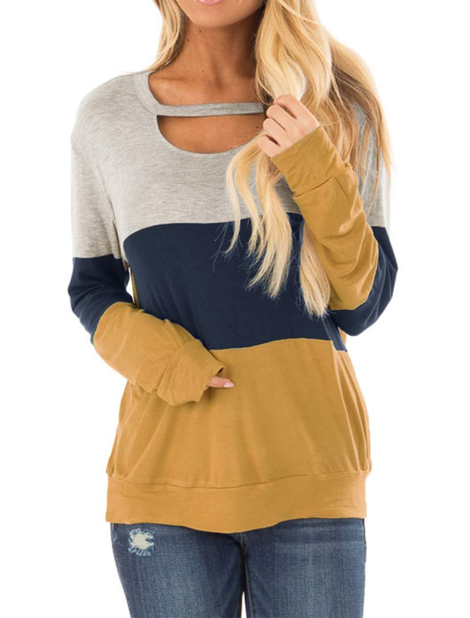 Minclouse Women's Color Block Long Sleeves Tunic Cutout Choker Tops Crew Neck Casual Loose Blouses Cute Sweatshirts